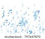 blue flying musical notes... | Shutterstock .eps vector #797647870