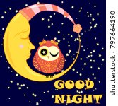 good night card with sleeping... | Shutterstock .eps vector #797664190