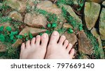 woman foot standing on the... | Shutterstock . vector #797669140