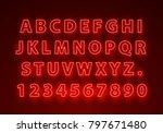 font neon red symbol  light... | Shutterstock .eps vector #797671480