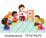 group of preschool kids and... | Shutterstock .eps vector #797679670