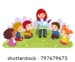 teacher telling a story to... | Shutterstock .eps vector #797679673