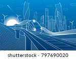 train traveling on railroad... | Shutterstock .eps vector #797690020