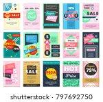 hot sales 15 flat banners... | Shutterstock . vector #797692750