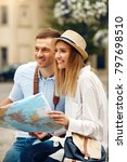 tourist man and woman with map... | Shutterstock . vector #797698510