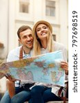 tourist man and woman with map... | Shutterstock . vector #797698519