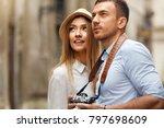 travel. couple walking on... | Shutterstock . vector #797698609