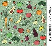 different happy vegetables... | Shutterstock .eps vector #797698789