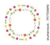 cute vector doodle floral frame ... | Shutterstock .eps vector #797705890