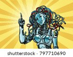 female robot indicates. pop art ... | Shutterstock .eps vector #797710690
