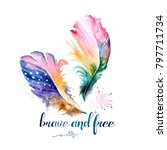 be brave. boho art print with... | Shutterstock . vector #797711734