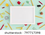 school creative desk. blank... | Shutterstock . vector #797717398