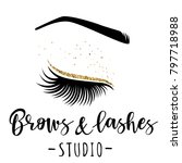 brows and lashes gold logo.... | Shutterstock .eps vector #797718988