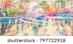 silhouette of people walking on ... | Shutterstock . vector #797722918