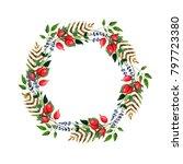 watercolor wreaths with... | Shutterstock . vector #797723380
