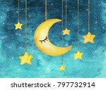 Yellow Moon And Stars Hanging...