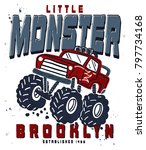 hand drawn monster truck with... | Shutterstock .eps vector #797734168
