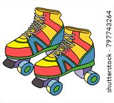 cute cartoon roller skate on...