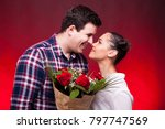 inlove couple looking at each... | Shutterstock . vector #797747569