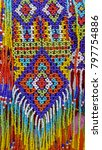 colourful beads embroidery  | Shutterstock . vector #797754886