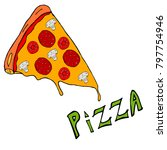 a slice of pizza dripping...   Shutterstock .eps vector #797754946