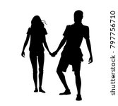 couple walking holding hands... | Shutterstock .eps vector #797756710