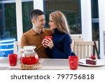 restaurant on the street. a guy ... | Shutterstock . vector #797756818