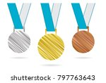 gold  silver and bronze medals. ... | Shutterstock .eps vector #797763643
