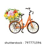 pink bicycle with flowers in... | Shutterstock . vector #797771596