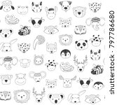 cute animal faces with funny... | Shutterstock . vector #797786680