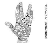 zen tangle of palm. zen tangle... | Shutterstock .eps vector #797790616
