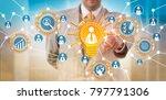 unrecognizable recruiter is... | Shutterstock . vector #797791306