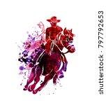 vector watercolor silhouette of ... | Shutterstock .eps vector #797792653