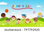 sports day poster vector... | Shutterstock .eps vector #797792920