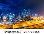 Colourful Nightime Skyline Of A ...
