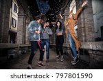 group of friends making party... | Shutterstock . vector #797801590