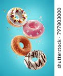 donuts selection flying on blue ... | Shutterstock . vector #797803000