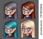emotion icons smile female in... | Shutterstock .eps vector #797805868