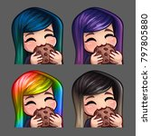 emotion icons happy female eat... | Shutterstock .eps vector #797805880
