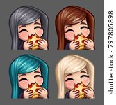 emotion icons happy female eat... | Shutterstock .eps vector #797805898