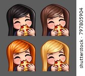 emotion icons happy female eat... | Shutterstock .eps vector #797805904
