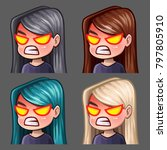 emotion icons rage female with... | Shutterstock .eps vector #797805910