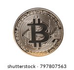 bitcoin coin on white... | Shutterstock . vector #797807563