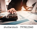 a businessman analyzing... | Shutterstock . vector #797812360