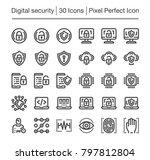digital security line icon set | Shutterstock .eps vector #797812804