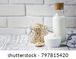 rolled oats in glass jar ... | Shutterstock . vector #797815420