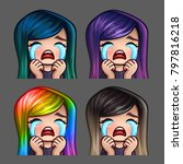 emotion icons crying female... | Shutterstock .eps vector #797816218