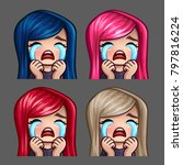emotion icons crying female... | Shutterstock .eps vector #797816224