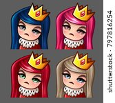emotion icons queen female with ... | Shutterstock .eps vector #797816254