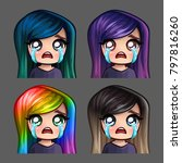 emotion icons crying female... | Shutterstock .eps vector #797816260